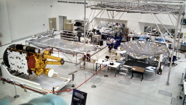 Scheduled to launch in January of 2015, the Soil Moisture Active Passive satellite is displayed inside the Spacecraft Assembly Facility at NASA's Jet Propulsion Laboratory near Pasadena, CA...on October 12, 2014.