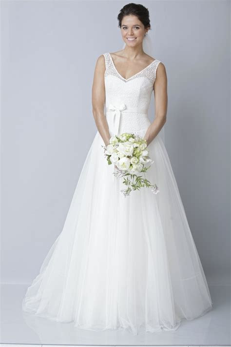 Strapless modified a line wedding dress with blush pink