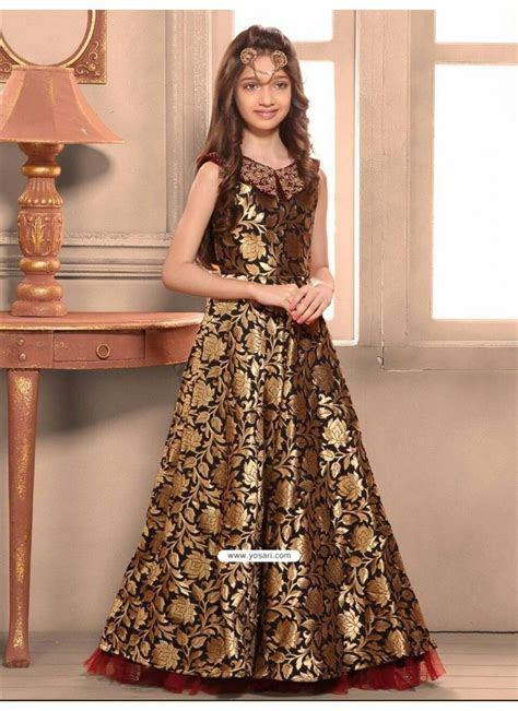 Blooming Taffeta Jacquard Indo Western Dress   Indo