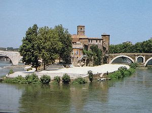 A view from the south-east on the Tiber Island.