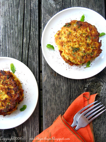 Mint and Harissa Yellow Squah Fritters