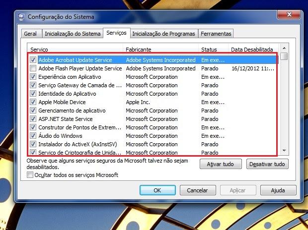 Desativando serviços da inicialização do Windows (Foto: Reprodução/Edivaldo Brito)