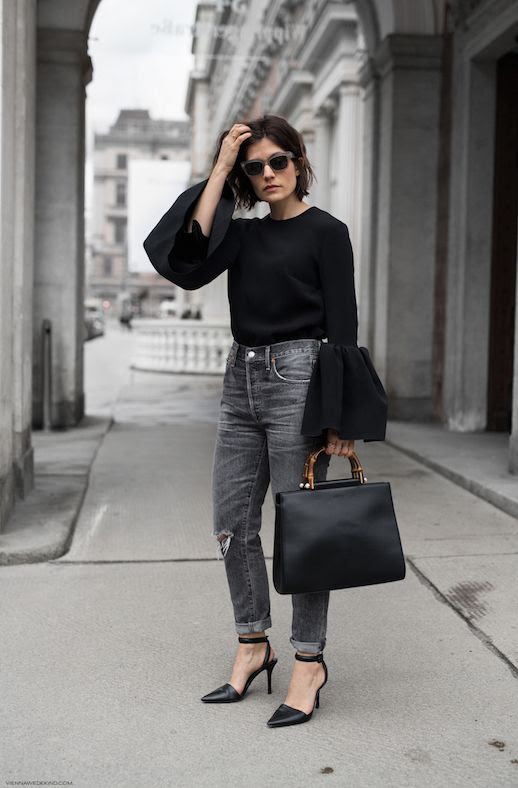 Statement Sleeve Top Sunglasses High Waisted Grey Distressed Jeans Gucci Bamboo Handle Bag Alexander Wang Pumps Via Carola Pojer Vienna Wedekind Le Fashion Blog