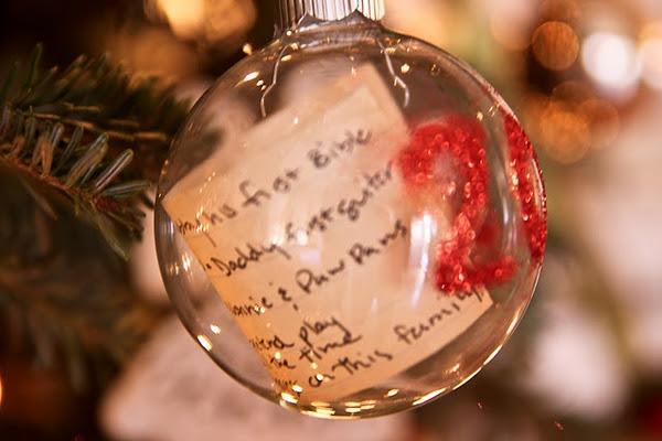 kids christmas list inside glass ornament