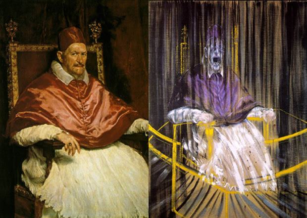Diego Velazquez Pope Innocent X 1650. Study after Velazquez's Portrait of Pop Innocent X 1953 © The Estate of Francis Bacon. All rights reserved.