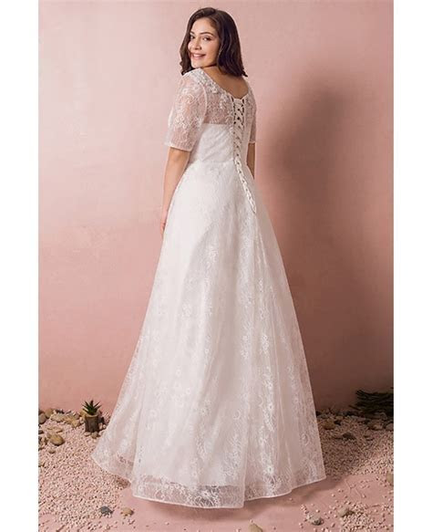 Modest Lace Short Sleeve Plus Size Wedding Dress With