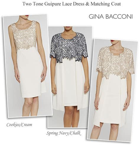 Gina Bacconi dress and matching lace coat navy cream ivory