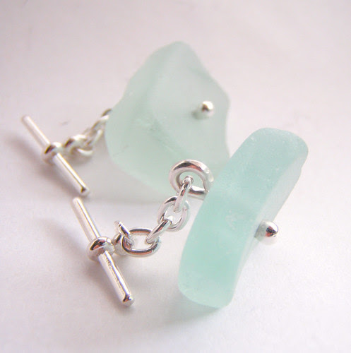 simple drilled sea glass cufflinks