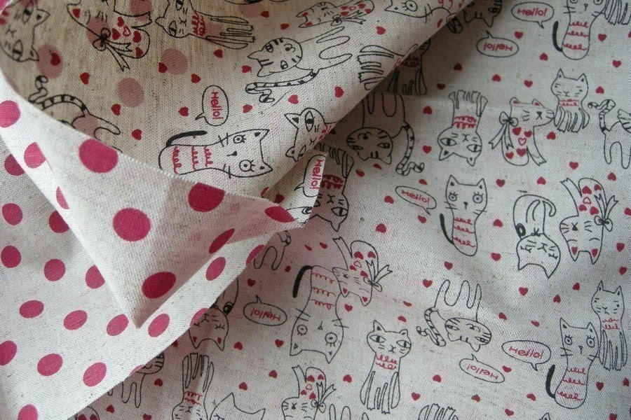 Japanese Cotton linen blended fabric - Double sided, cuttie cat and red polka dots