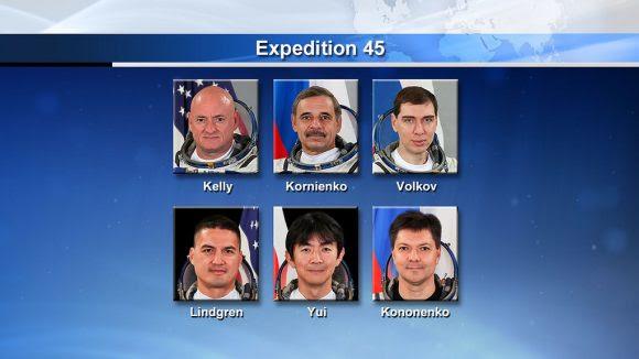 Miembros de la Expedición 45 (NASA).