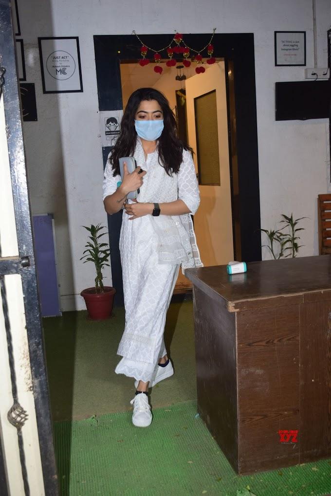 Actress Rashmika Mandanna At Mukesh Chhabra Office HD Gallery