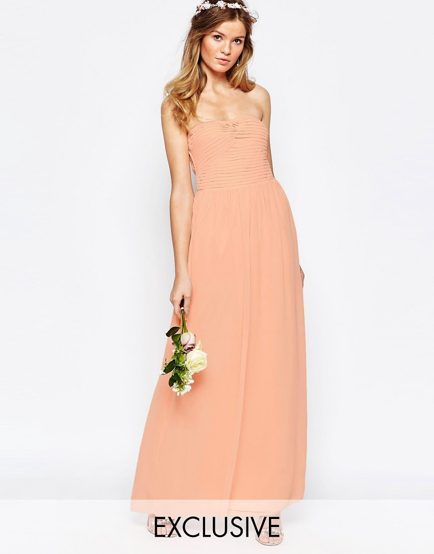 Image 1 of Vila Ruched Bandeau Maxi Dress