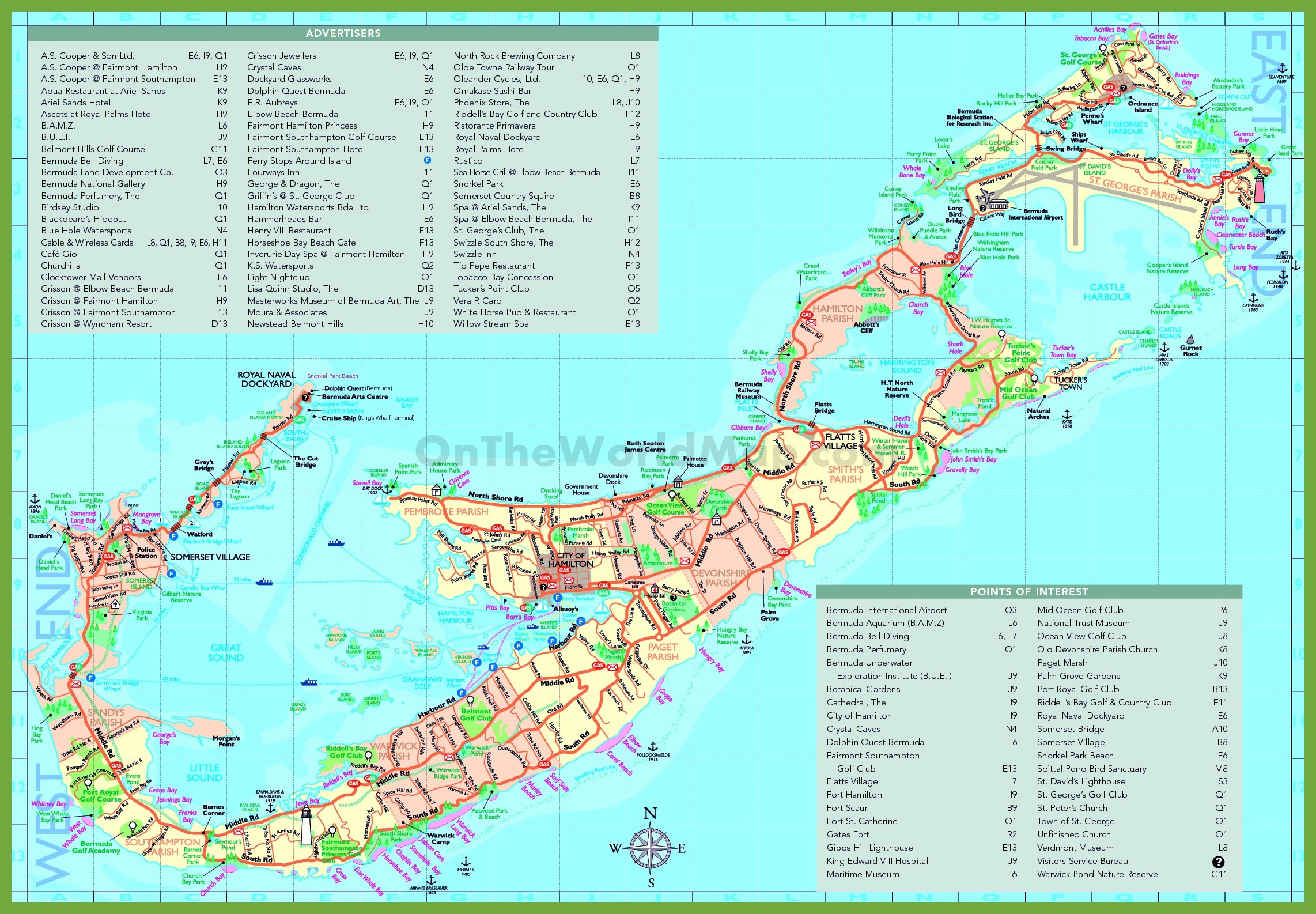 travel map of bermuda with attractions