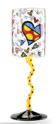 Britto Romero Heart Wine Glass with Yellow and Red Polka Dot Hand Painted Stem