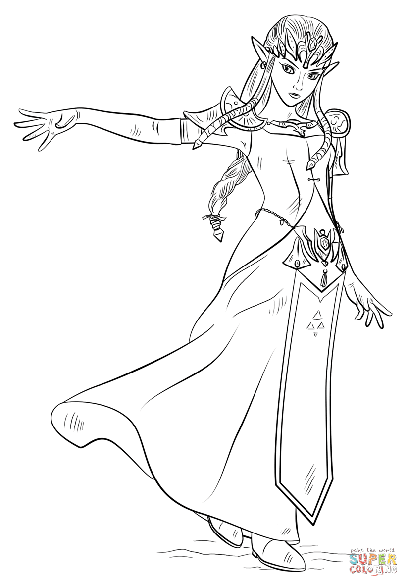 Princess Zelda Coloring Pages Coloring And Drawing