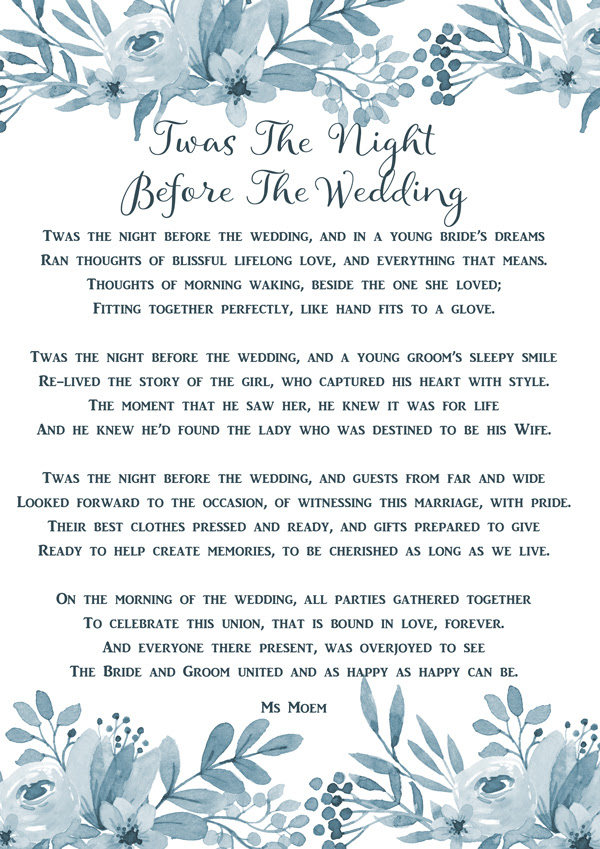 Twas The Night Before The Wedding Ms Moem Poems Life Etc