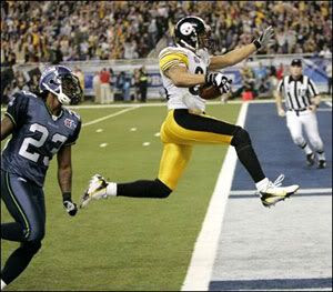 Hines Ward scores a touchdown during the Pittsburgh Steelers' 21-10 victory over the Seattle Seahawks in Super Bowl XL.