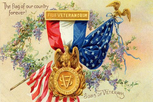 """Beautiful vintage patriotic postcard with the United States flag behind the Sons of Veterans emblem, surrounded by a wreath of laurel and the words, """"The flag of our country forever!"""" It is beautiful statement of pride in America."""