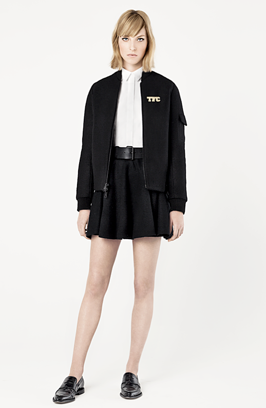 LE FASHION BLOG THE FASHION CLUB LOOKBOOK BLOGGER LULU CHANG LULU AND YOUR MOM FASHION LINE COLLECTION BOMBER KNIT JACKET SKATER SKIRT FLAT LOAFERS COLLARED BUTTON UP SHIRT