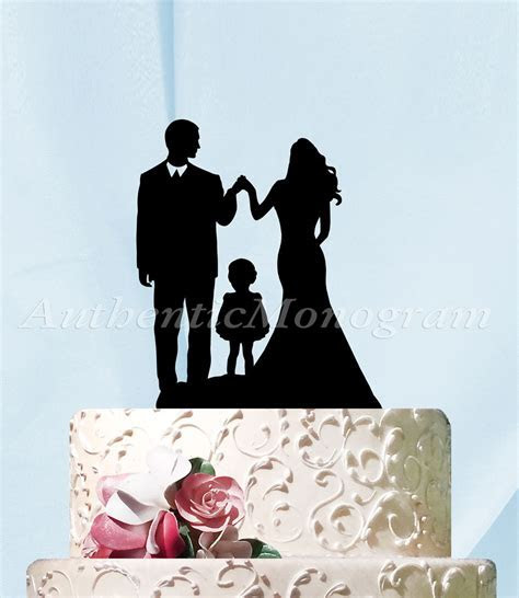 6 Inch Silhouette Couple with Child Cake