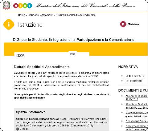 http://hubmiur.pubblica.istruzione.it/web/istruzione/dsa
