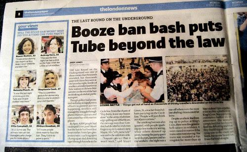 Booze ban bash puts Tube beyond the law - londonpaper