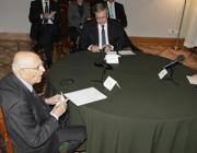 Napolitano a colloquio con il presidente polacco,  Komorowski e l'omologo tedesco,  Gauck (Ap)