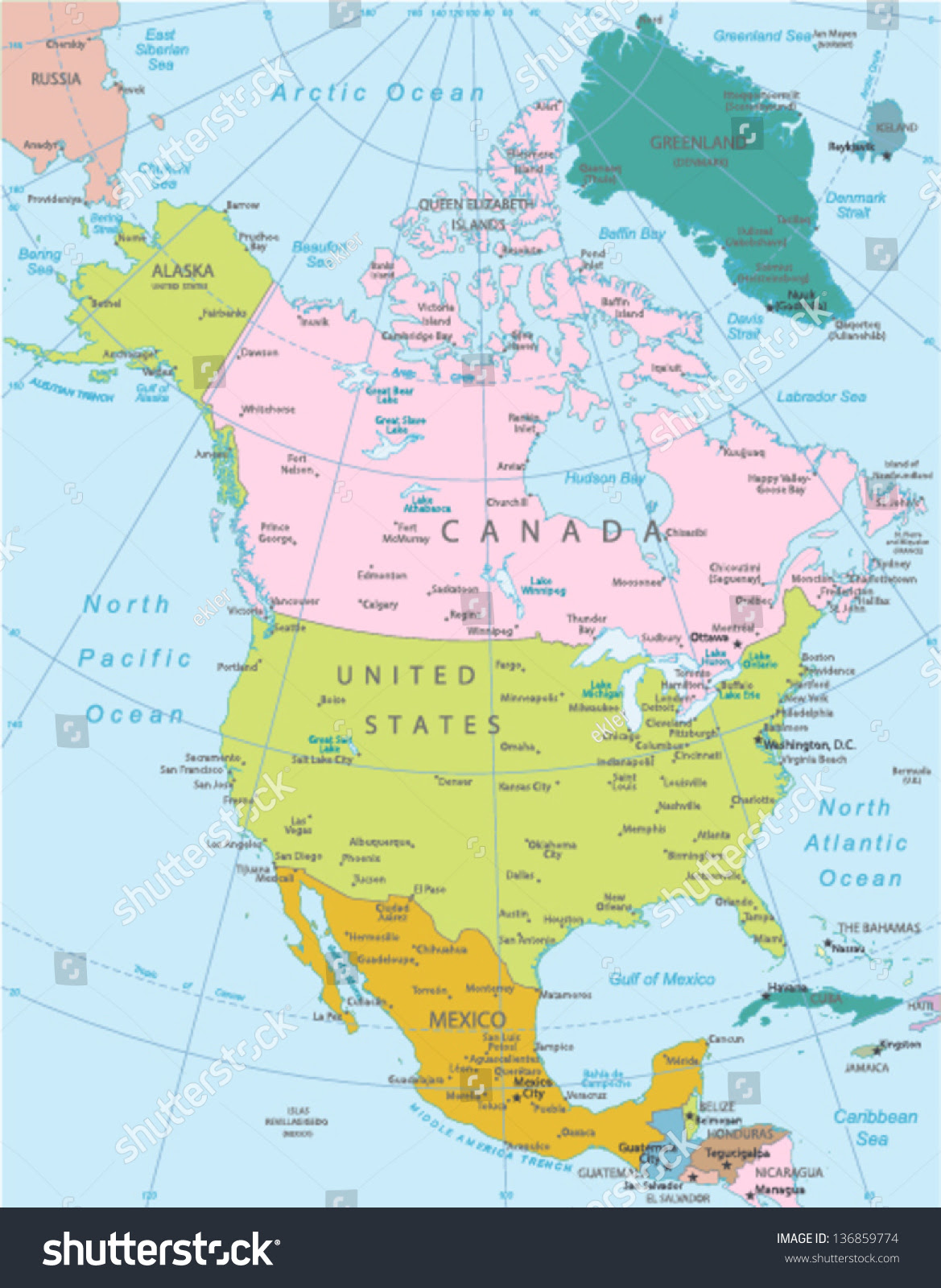 North America Highly Detailed Map Elements Stock Vector 136859774 ...