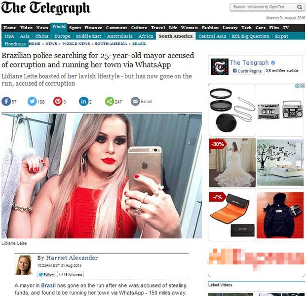 The Telegraph enfatiza ostentação de Lidiane Leite (Foto: Reprodução / The Telegraph)