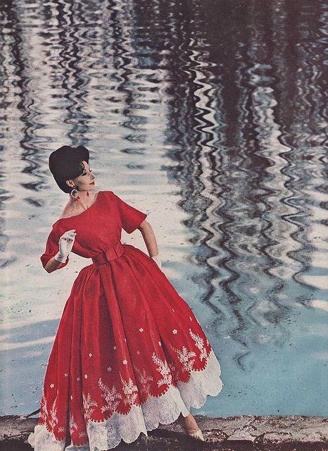 1960 Harper's Bazaar Nina Ricci Red Silk