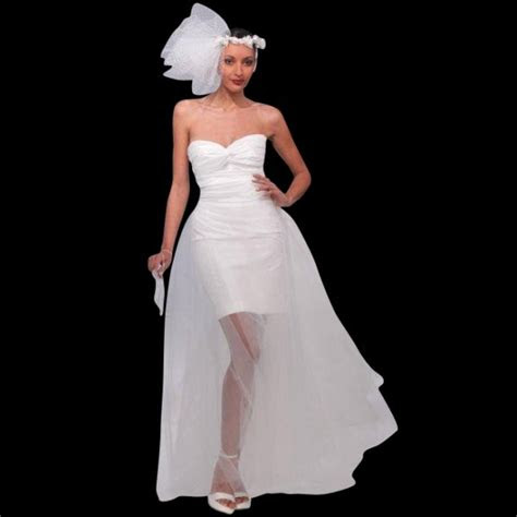unique short wedding dress  detachable train
