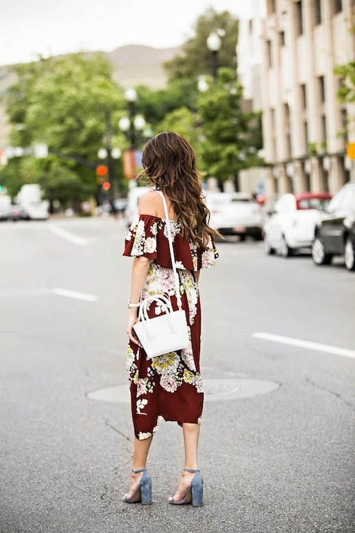 Le Fashion Blog Off The Shoulder Floral Dress Suede Heels White Bag Via Hello Fashion