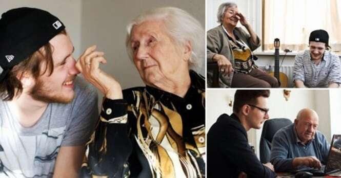 Neste lar, jovens podem morar de graça, desde que dividam seu tempo com os idosos residentes