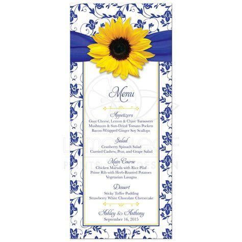 Wedding Menu Sunflower Royal Blue Damask