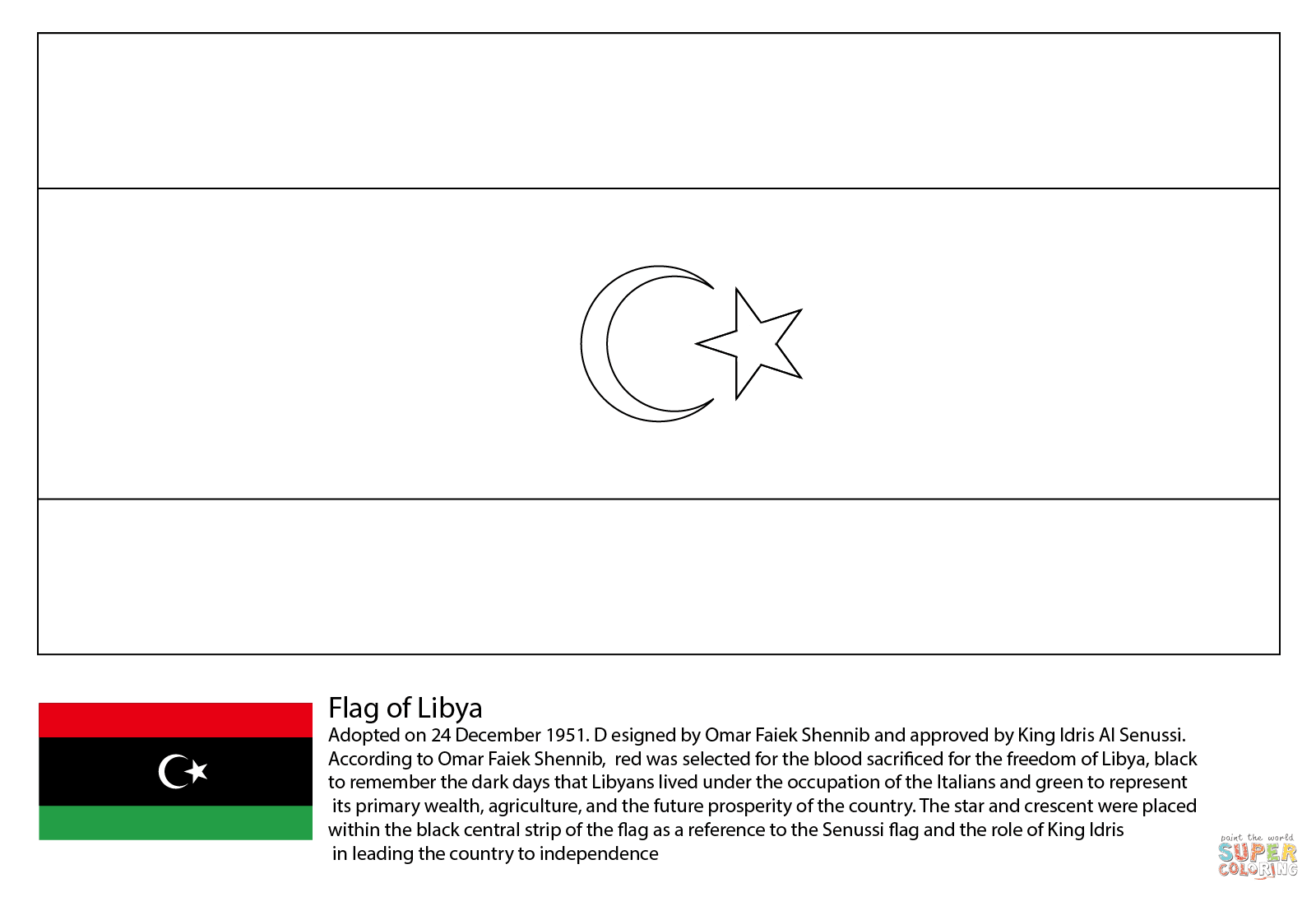 Download Flag of Libya coloring page | Free Printable Coloring Pages