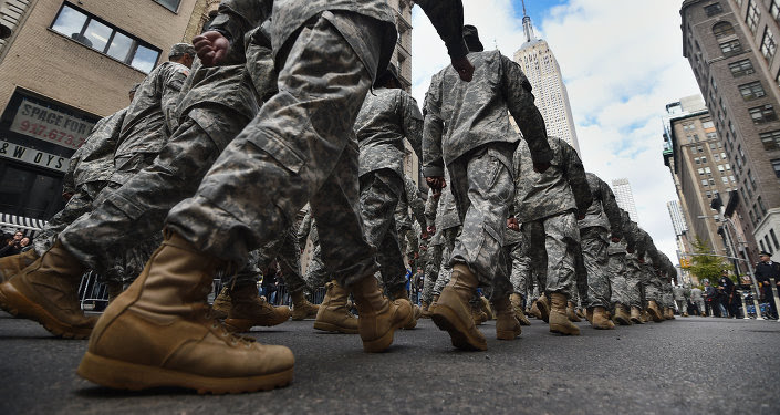 US military soldiers march during the Veterans Day Parade in New York