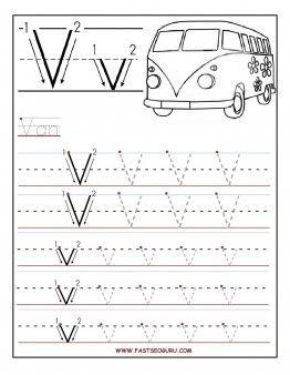 Printable Tracing Letter V