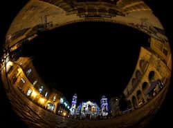 The Cathedral of Havana is lit by Italian artist Gaspare di Caro ahead of Pope
