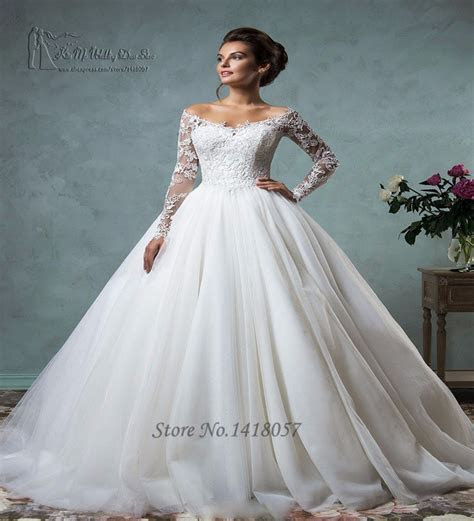 Hot Sell White Long Sleeve Lace Wedding Dresses Ball Gown