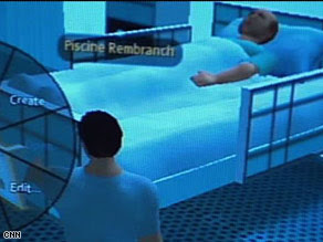 An avatar approaches a virtual patient in a hospital inside the  online world Second Life.