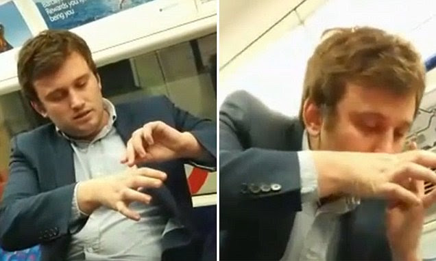 City worker snorts cocaine on the Tube in video and says 'I just like taking it'