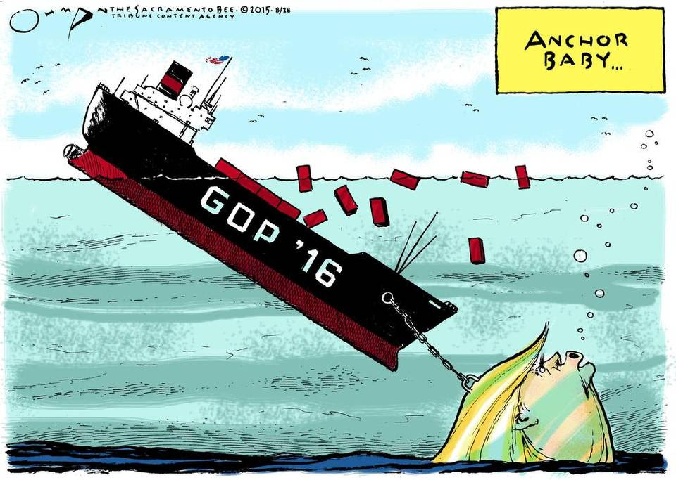 Image result for trump  anchors GOP cartoon