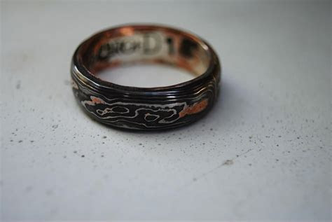 Hand Made Pattern Welded, Damascus, Woodgrain Wedding Band