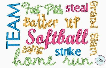 Softball Words Embroidery Design