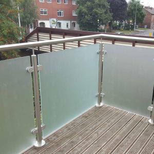 Outdoor Frameless Polish Stainless Steel Glass Balcony Railing