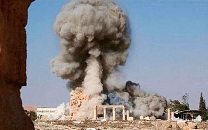 An Isil video of the demolition of the Temple of Baalshamin, another Palmyra icon, in August 2015