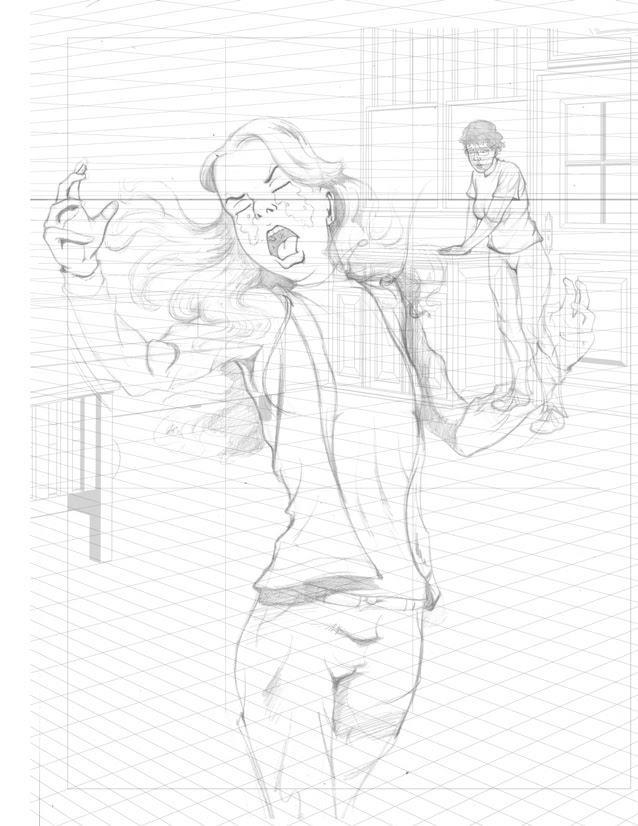 Final pencils for Upset Girl poster from I AM STILL YOUR CHILD by Von Allan