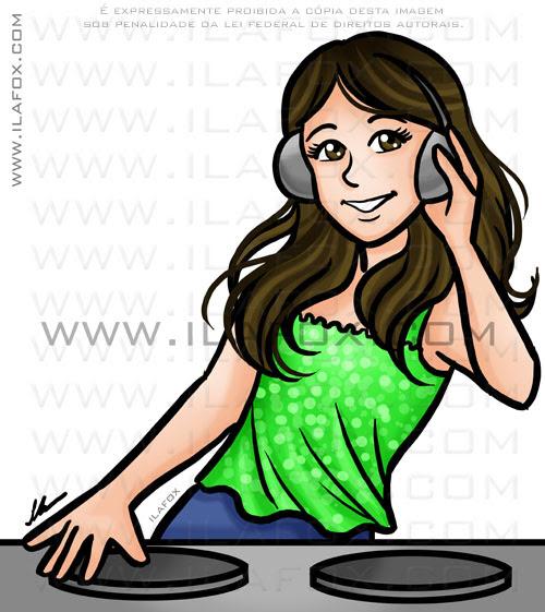 retrato DJ, retrato menina tocando CDJ, atacando de DJ, retrato personalizado, retrato divertido, by ila fox