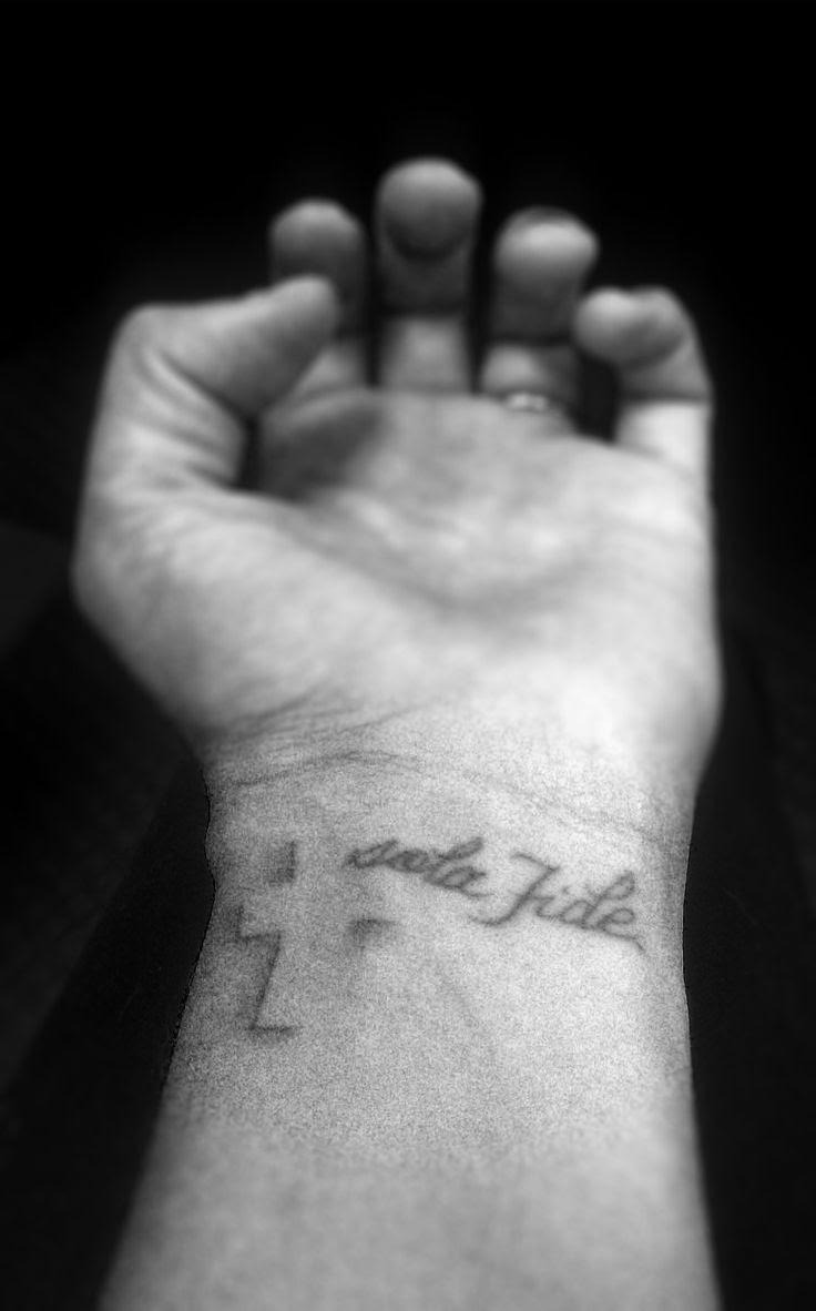 Cross Faith Tattoo On Left Wrist For Men