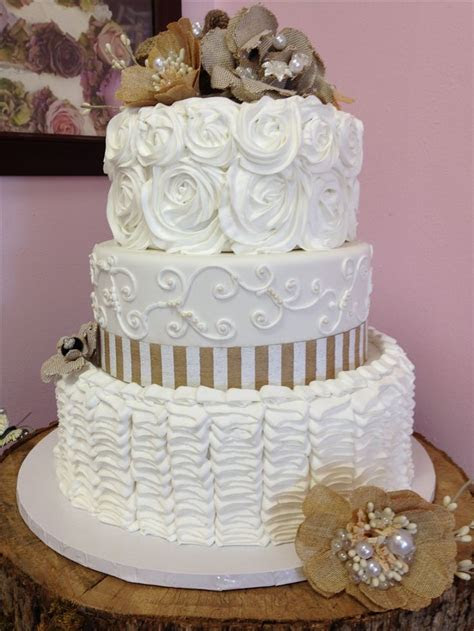 burlap and lace one tier cake   Rustic Burlap And Lace